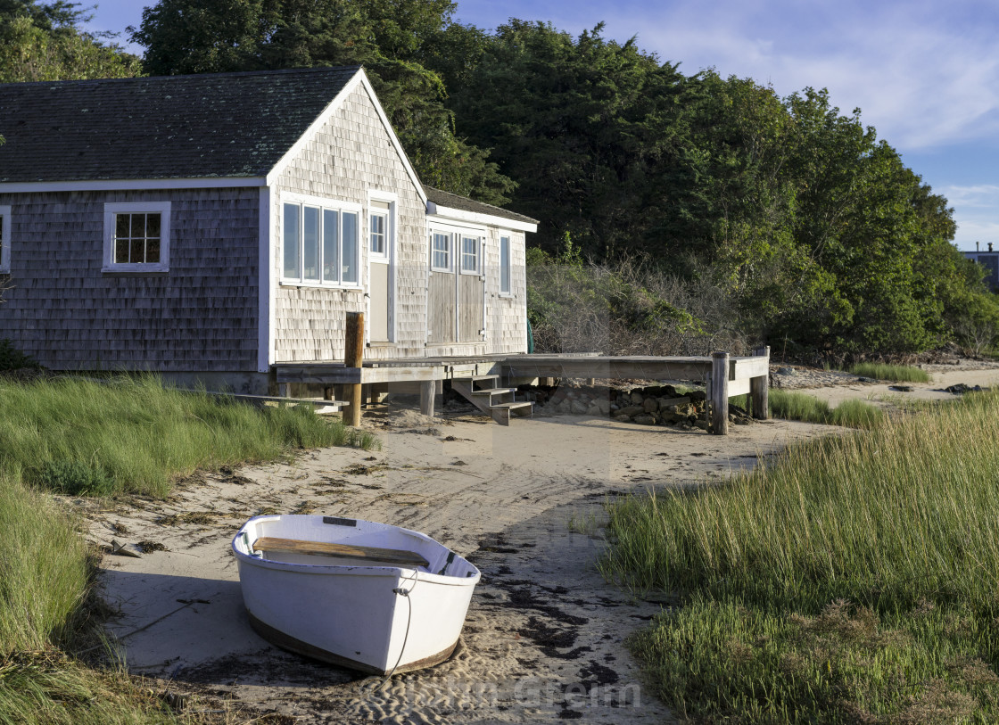 Boathouse and rowboat, Chatham, Cape Cod - License, download or