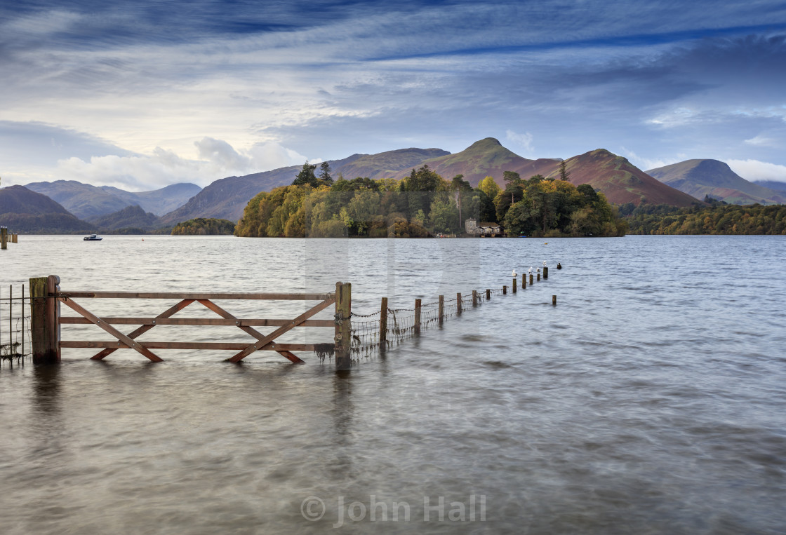 """Dawn at Derwent Water, Cumbria, England"" stock image"