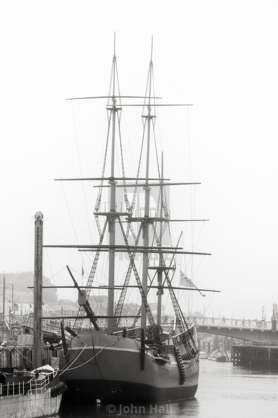 """HMS Endeavour, Whitby, Yorkshire,"" stock image"