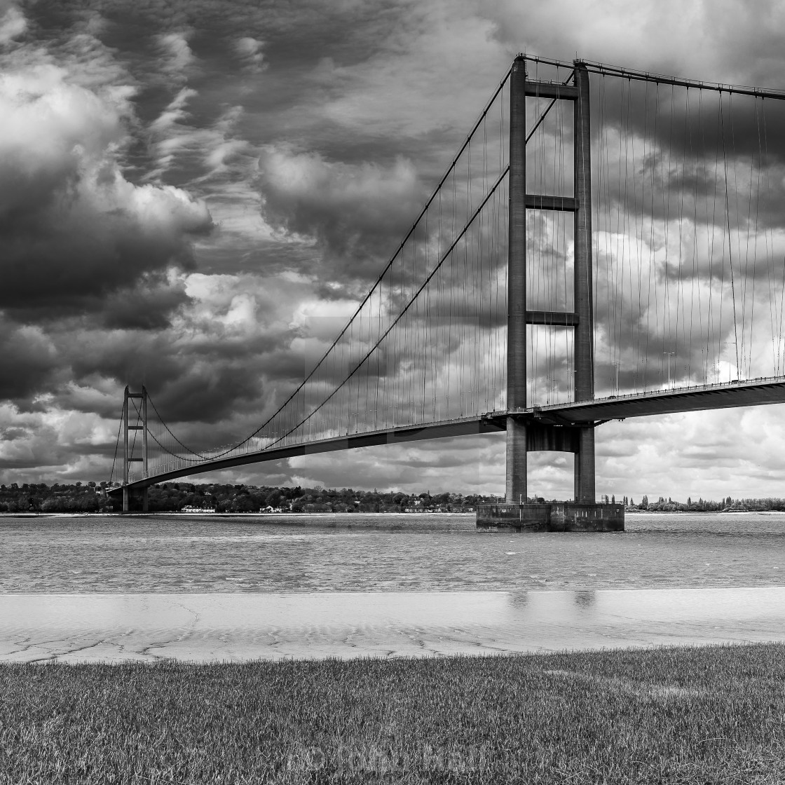 """Humber Bridge in Black and White"" stock image"