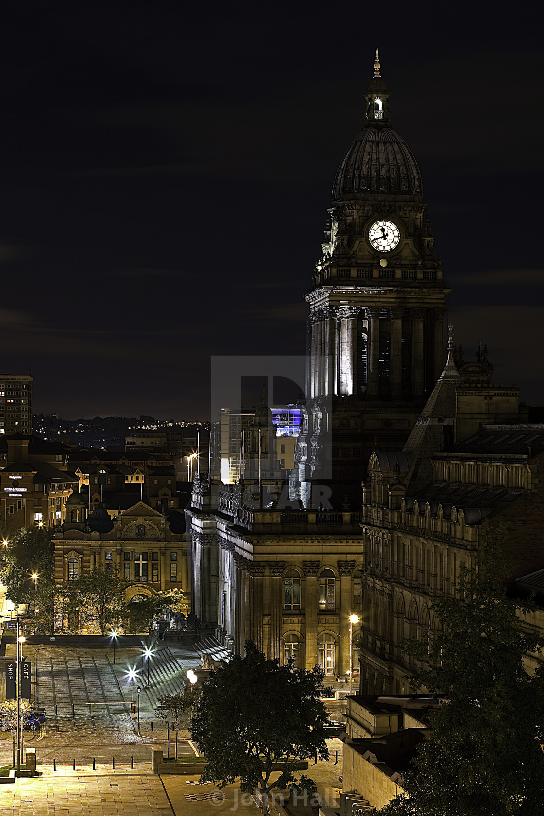"""Leeds Town Hall at night"" stock image"