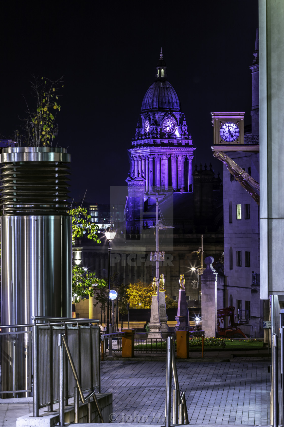 """Leeds Town Hall at night 2"" stock image"