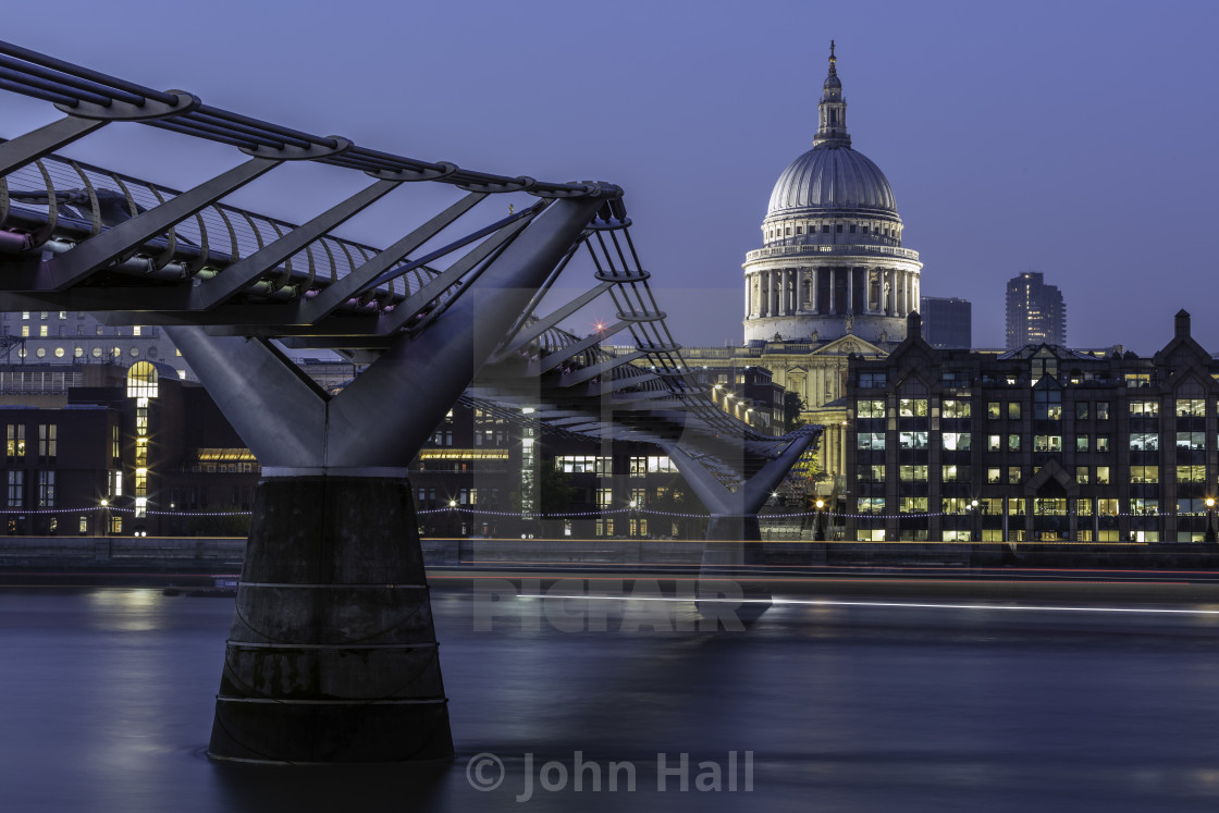 """Millennium Bridge, London, England"" stock image"