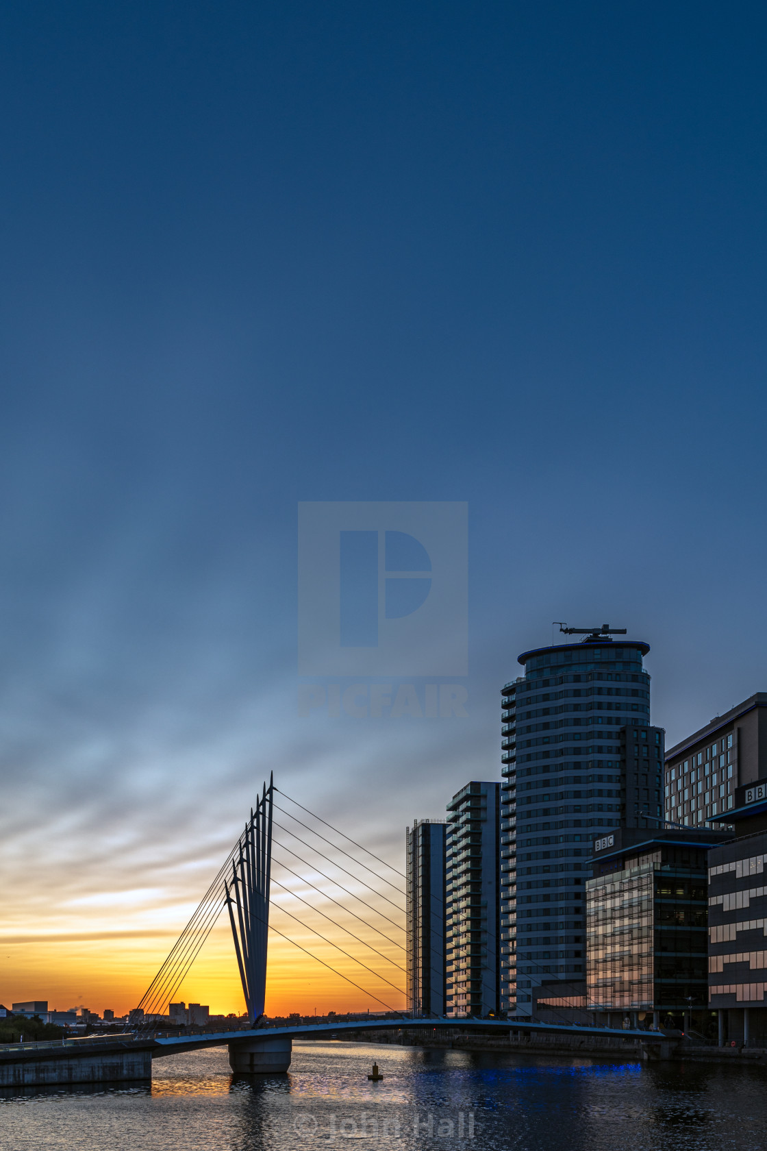 """Sunset at Salford Quays, Manchester"" stock image"