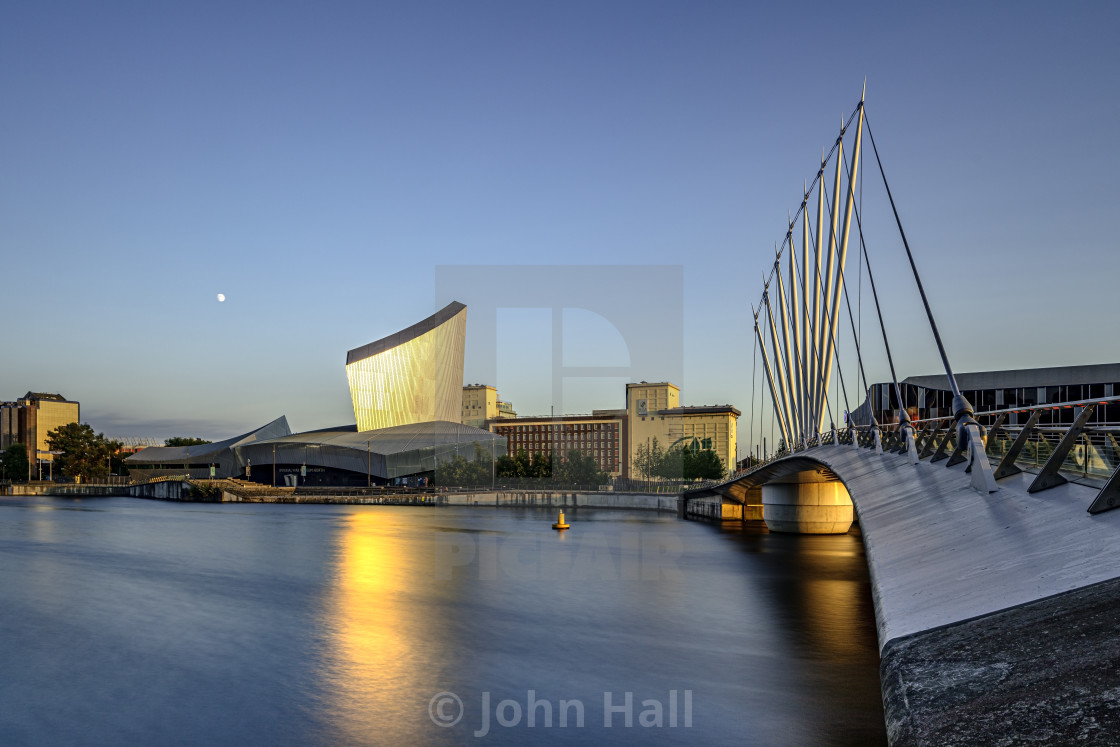 """Dusk at the Imperial War Museum North, Salford"" stock image"