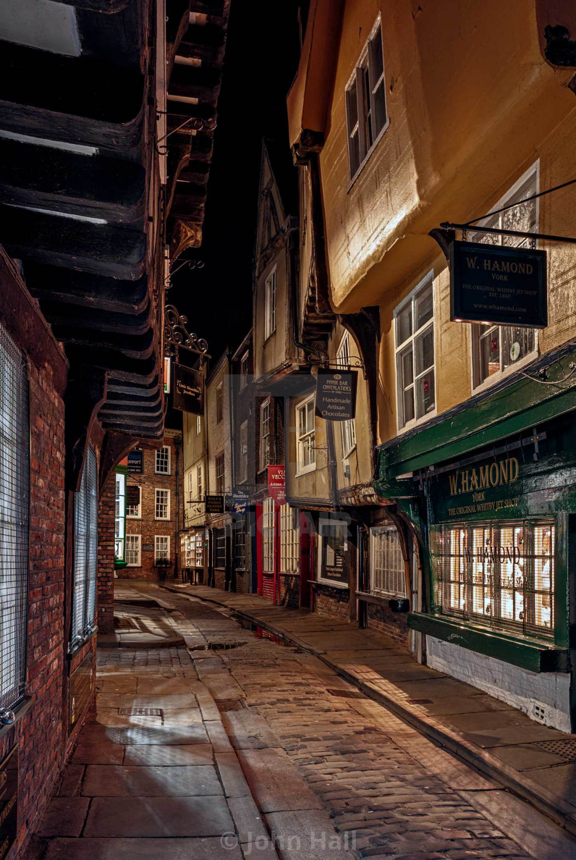 """Night Time at the Shamble in York"" stock image"