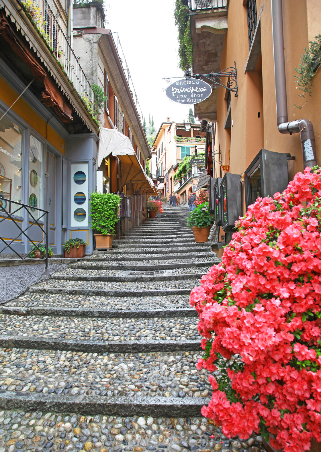 """The narrow picturesque street of Salita Serbelloni Bellagio Lake"" stock image"