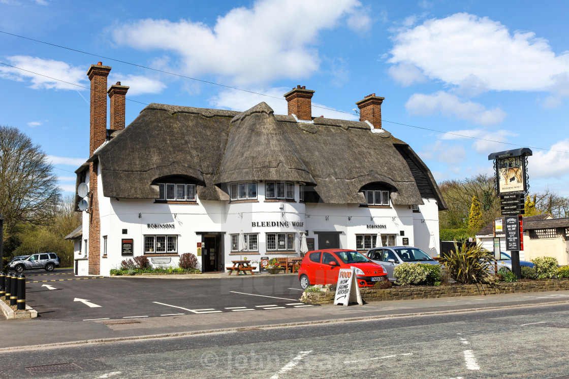 """The Bleeding Wolf public house or pub Scholar Green Cheshire Eng"" stock image"