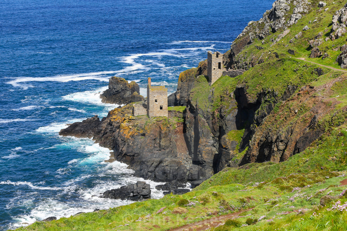 """Crowns Mine at Botallack ex-tin mine in Cornwall, England United"" stock image"