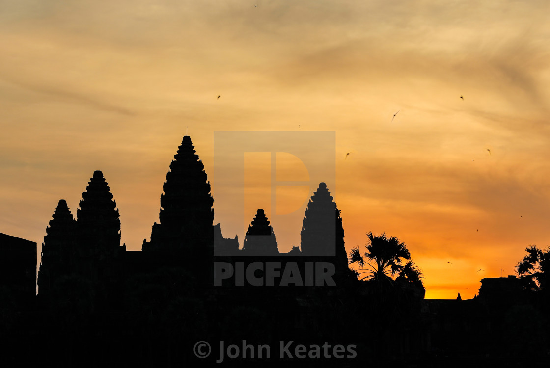 """Sun rise with Swifts flying over the Angkor Wat temple in silhou"" stock image"