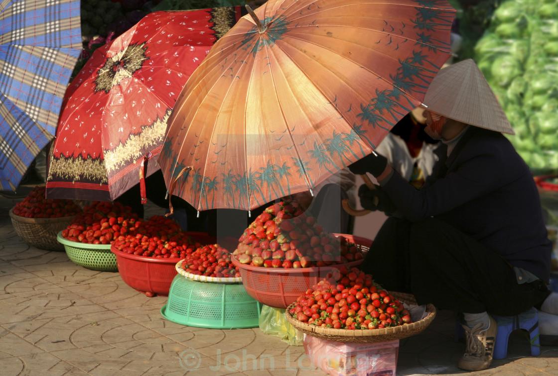 """Strawberries at Dalat Market"" stock image"