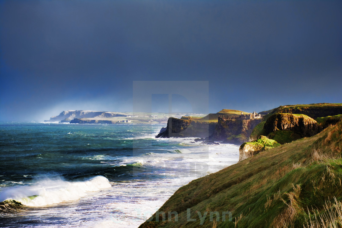"""Atlantic storm at Dunluce"" stock image"
