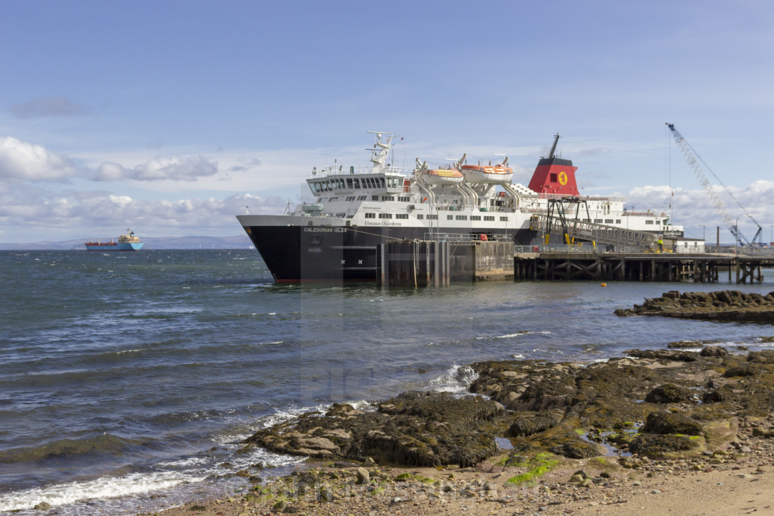 """Ferry moored in Brodick"" stock image"