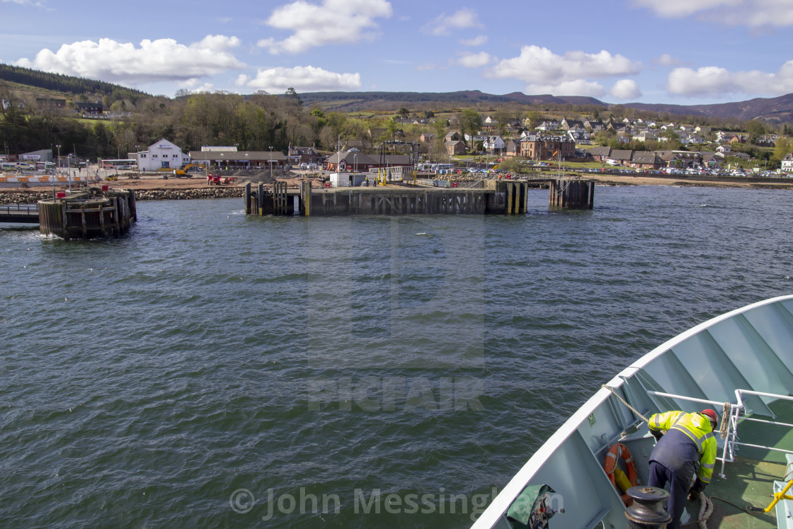 """Approaching the ferry terminal in Brodick."" stock image"