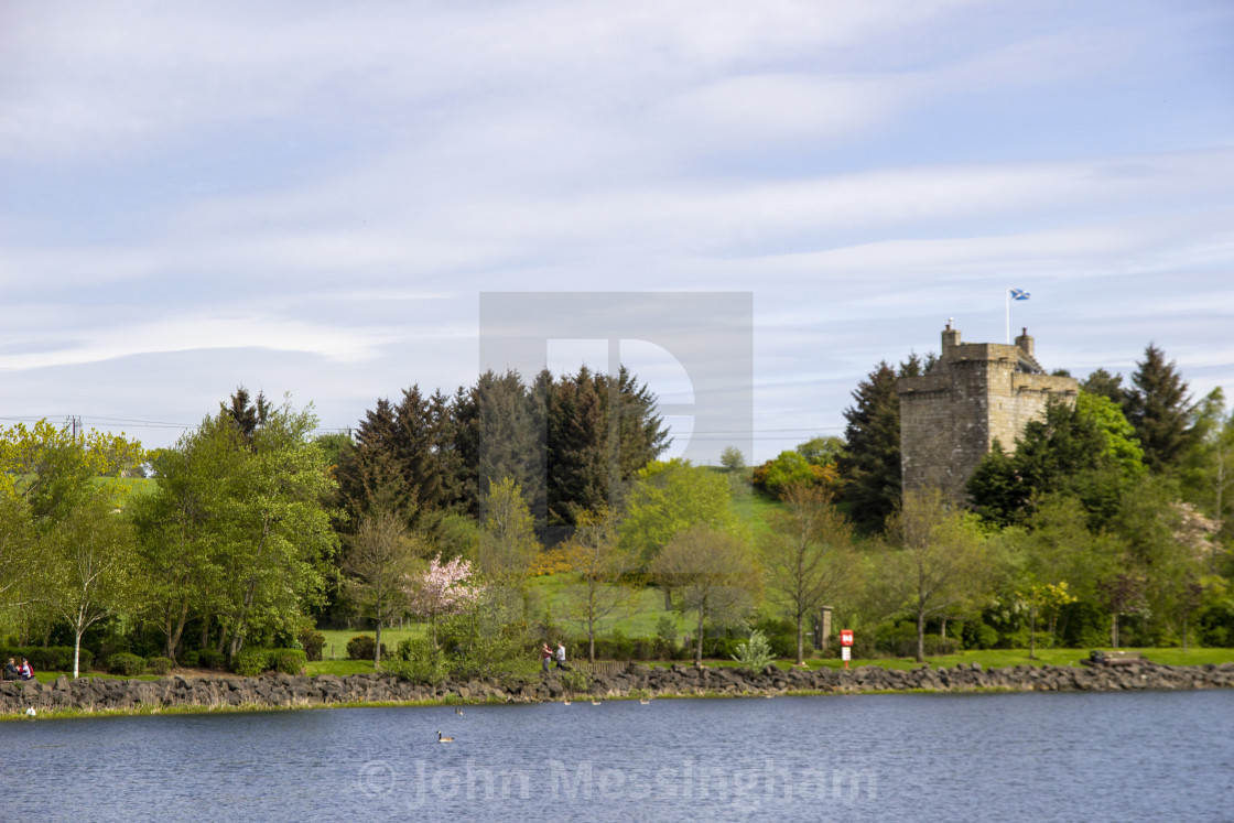 """""""Mains Castle and the James Hamilton Heritage Loch"""" stock image"""
