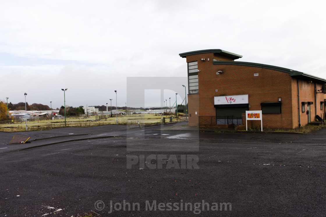 """""""Abandoned five aside pitches and building"""" stock image"""