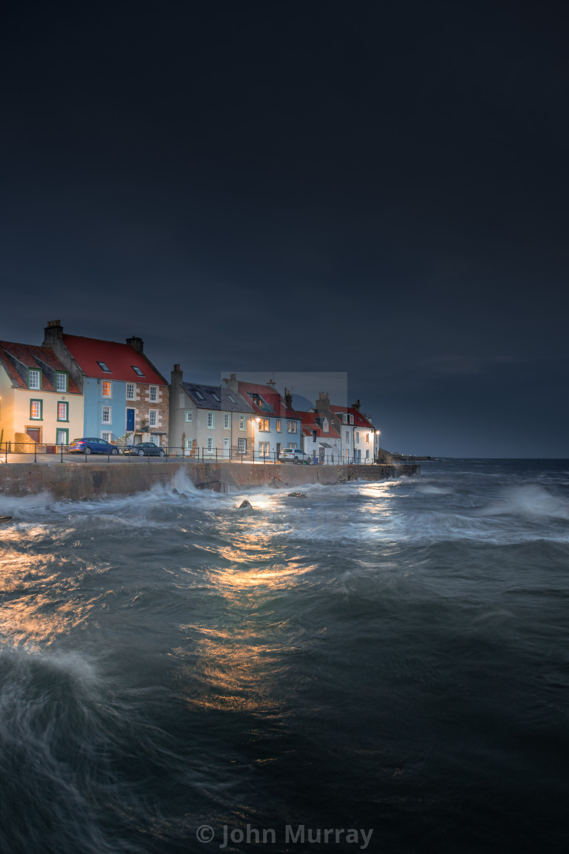 """A Wild Night in St Monans"" stock image"