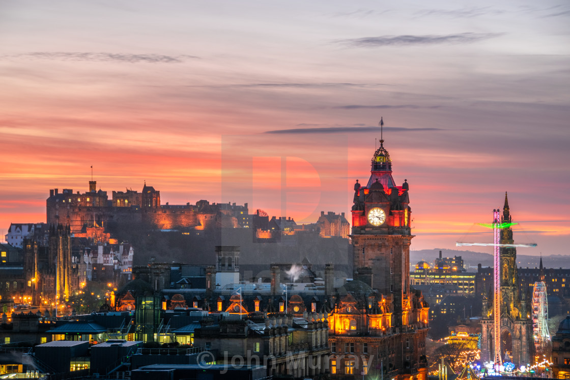 """Winter Evening in Edinburgh"" stock image"
