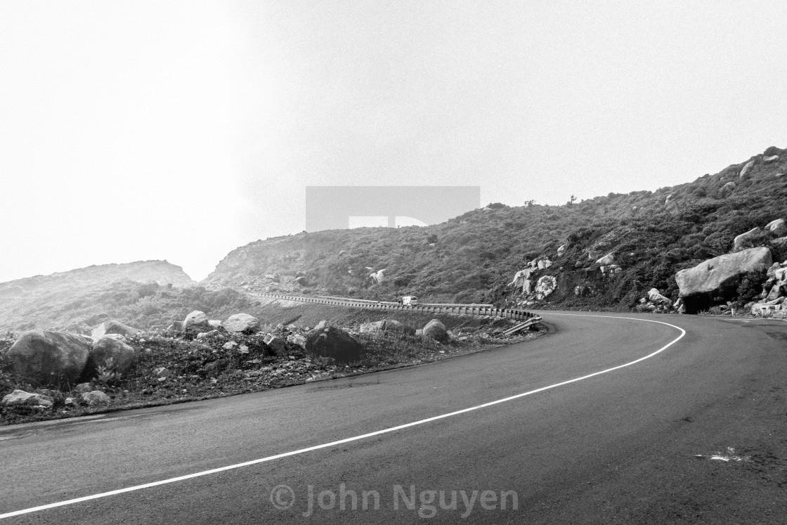 """The road through coast. B&W"" stock image"