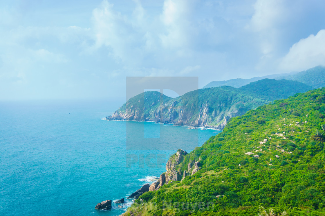 """""""Colorful spring morning on the Dai Lanh coast"""" stock image"""