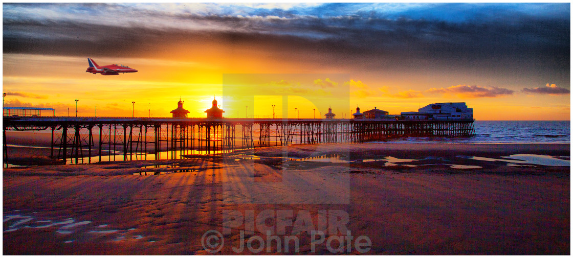 """Sunset Blackpool Pier, Red Arrow"" stock image"