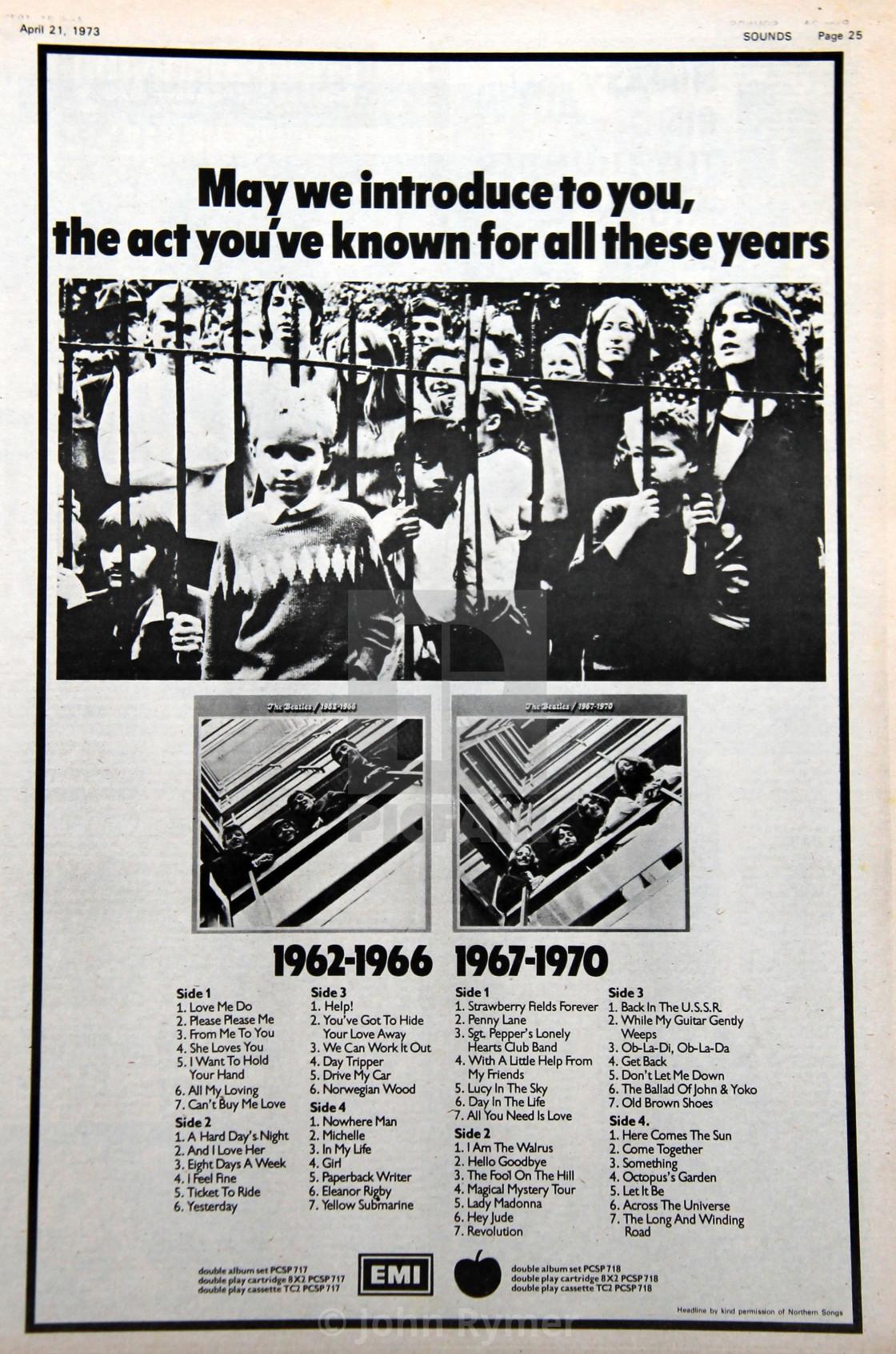"""The Beatles press cutting, advert."" stock image"