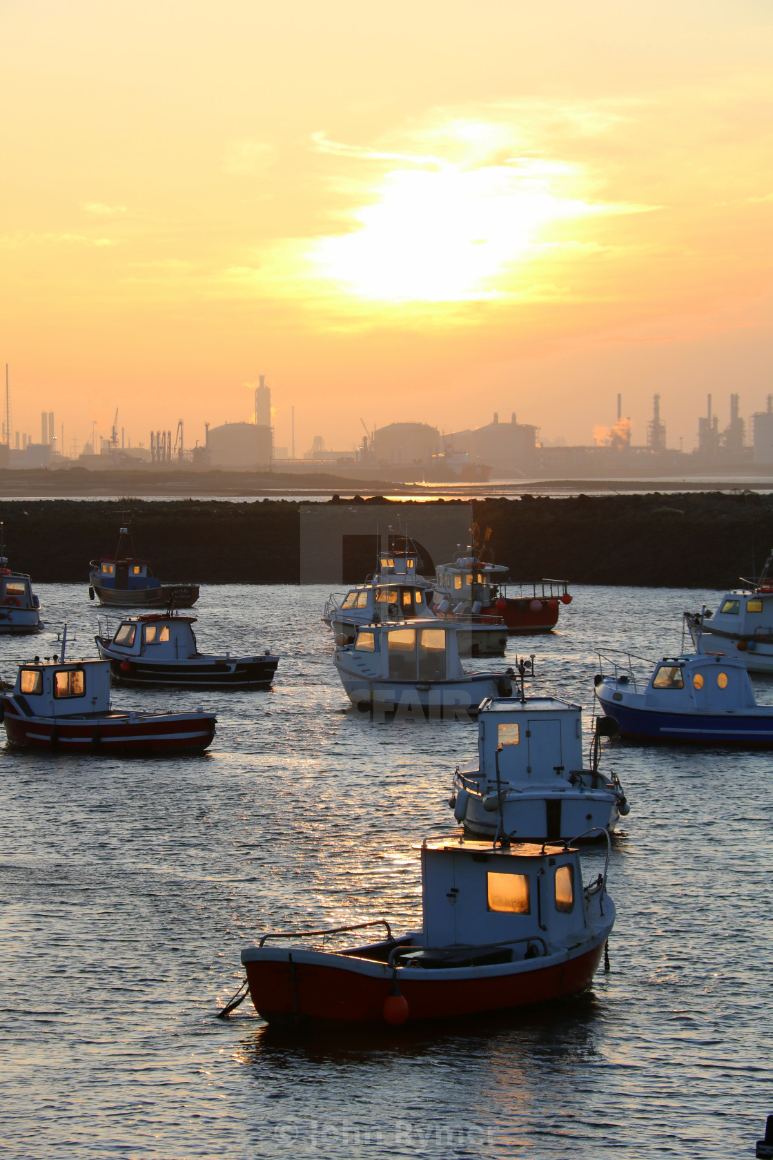 """""""Sunset over Paddy's Hole, South Gare, Redcar"""" stock image"""