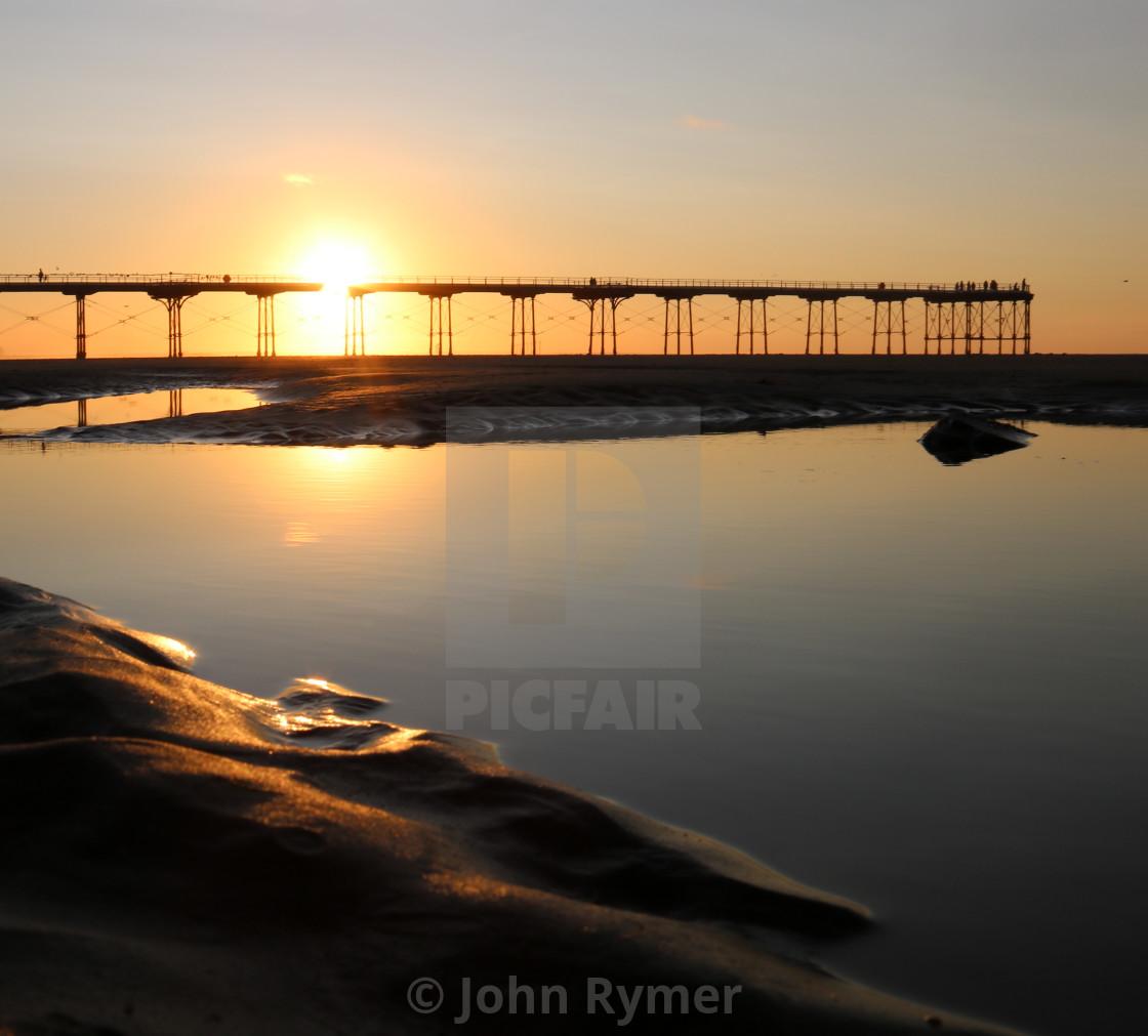 """Saltburn pier at sunset."" stock image"