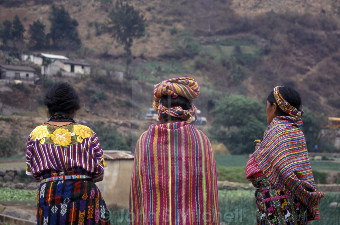 """Three Mayan women in Zunil, Guatemala"" stock image"