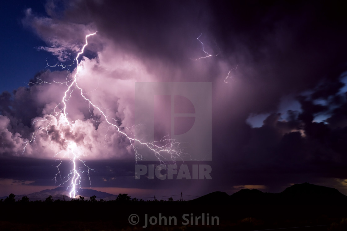 """Thunderstorm lightning"" stock image"