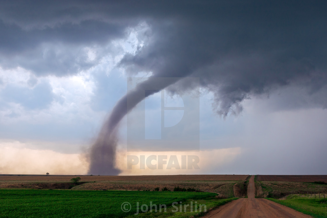 """Tornado and supercell thunderstorm"" stock image"