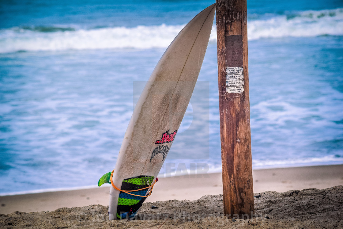 """Lonely Surfboard"" stock image"