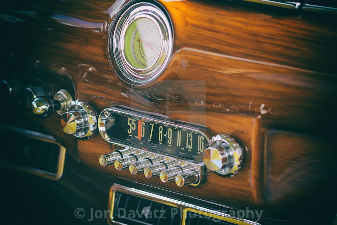 """""""Vintage Car Stereo and Clock"""" stock image"""