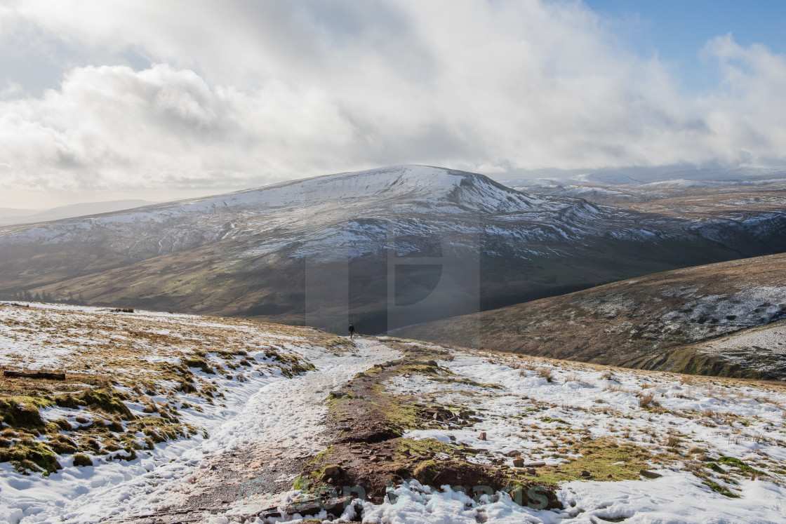 """""""Hiking at Pont Ar Daf, Pen Y Fan, Brecon Beacons, Wales"""" stock image"""