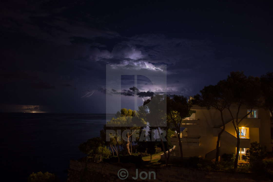 """Lightning at Ponent Mar"" stock image"