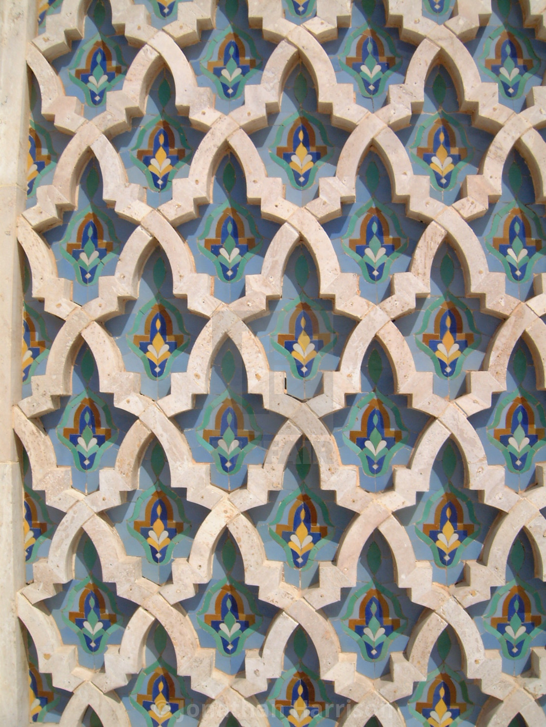 """""""Moroccan Pattern on Hassan II Mosque"""" stock image"""