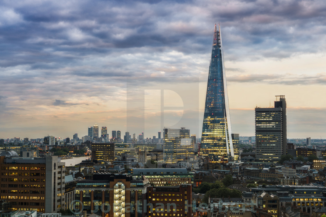 """The Shard And Canary Wharf"" stock image"