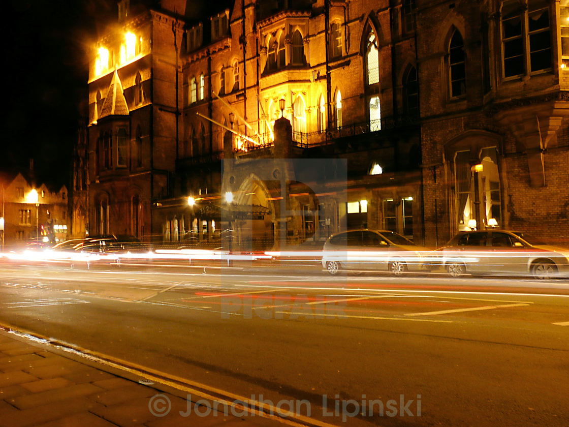 """The Randolph Hotel Oxford at night"" stock image"