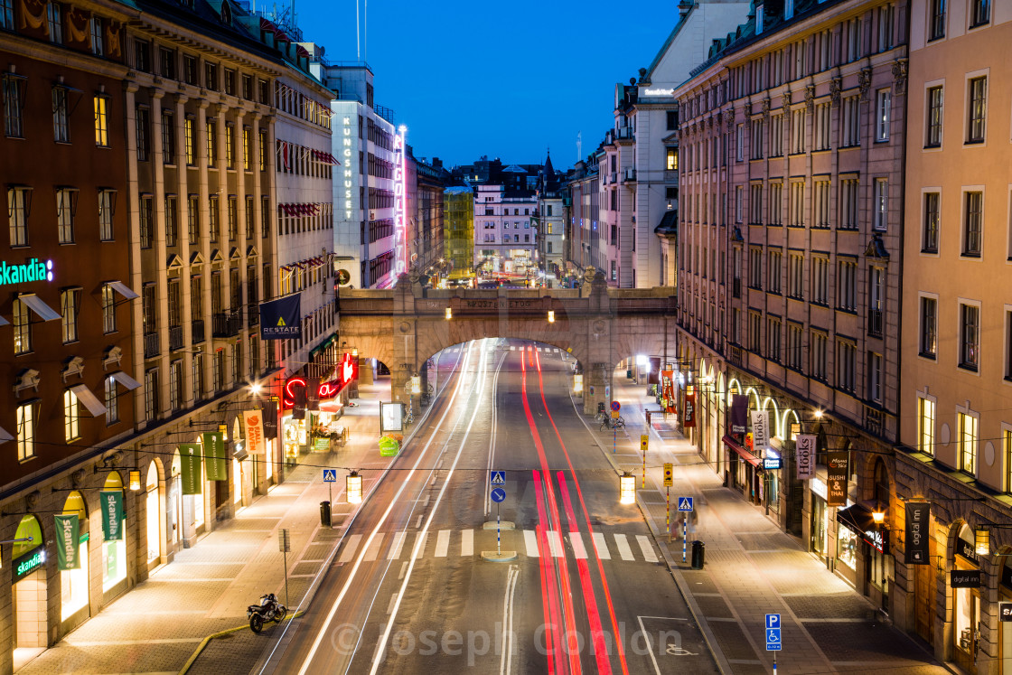 """Long Exposure of traffic at night in Stockholm, Sweden"" stock image"