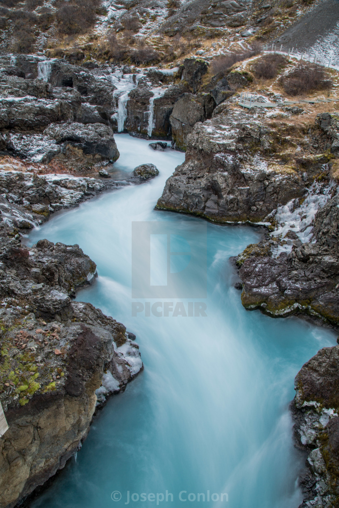 """Glacial river near Gullfoss Waterfall in Gullfoss, Iceland"" stock image"