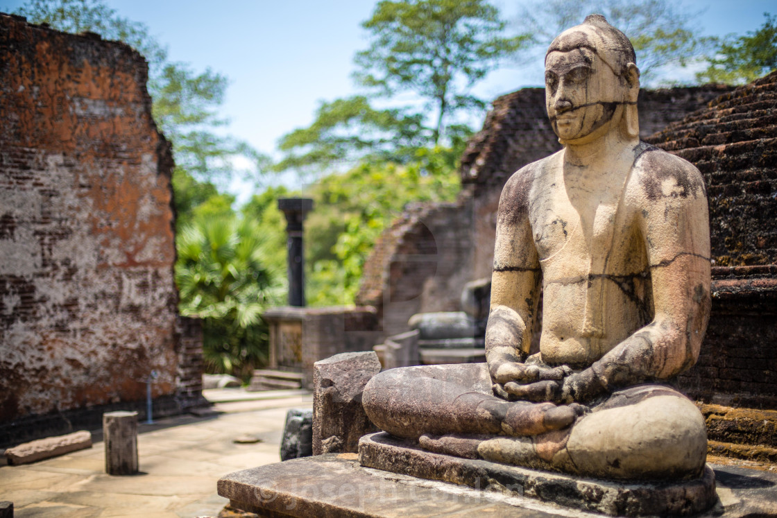 """Buddha Statue At Vatadage, Quadrangle, Polonnaruwa, Sri Lanka"" stock image"