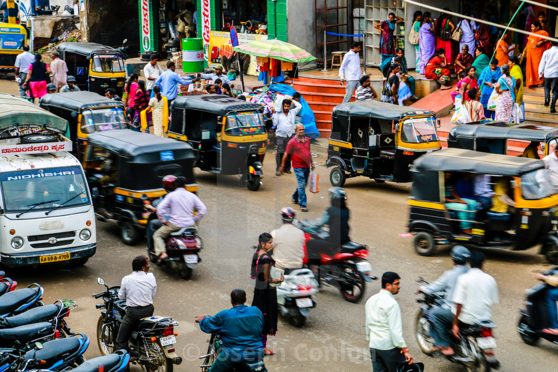 """A busy, indian street 
