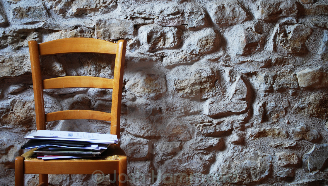 """""""Chair. Stone Wall."""" stock image"""