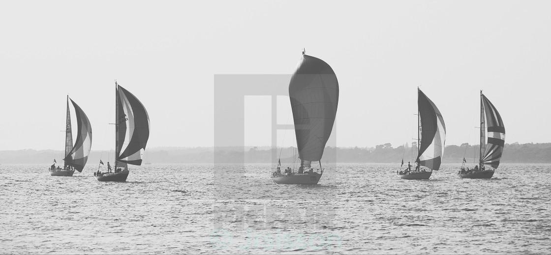 """Row of sailing ships"" stock image"