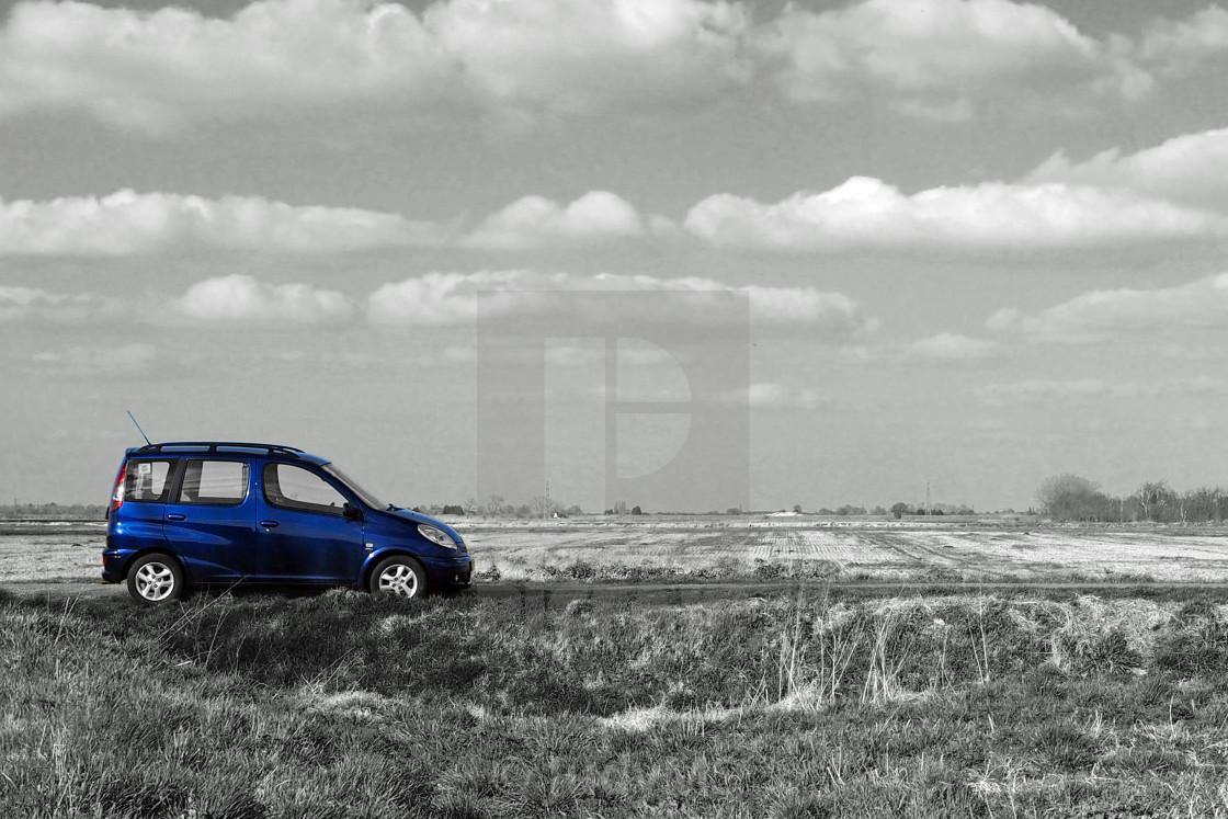 """Blue Car, Flat Fens"" stock image"