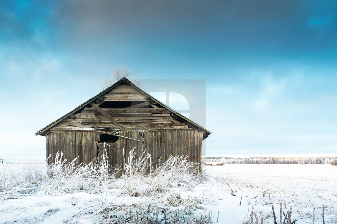 """Barn And The Frosty Fields"" stock image"