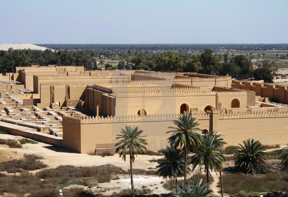Ishtar gate at the entrance of babylon, iraq. Editorial stock.