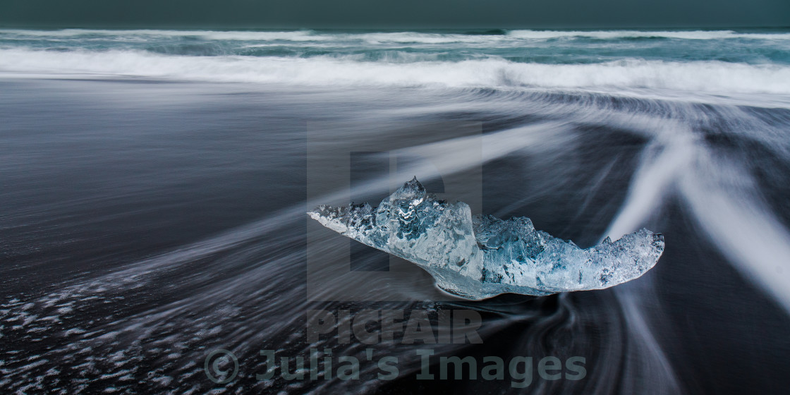 """Ice on beach in Jökulsárlón, Iceland"" stock image"