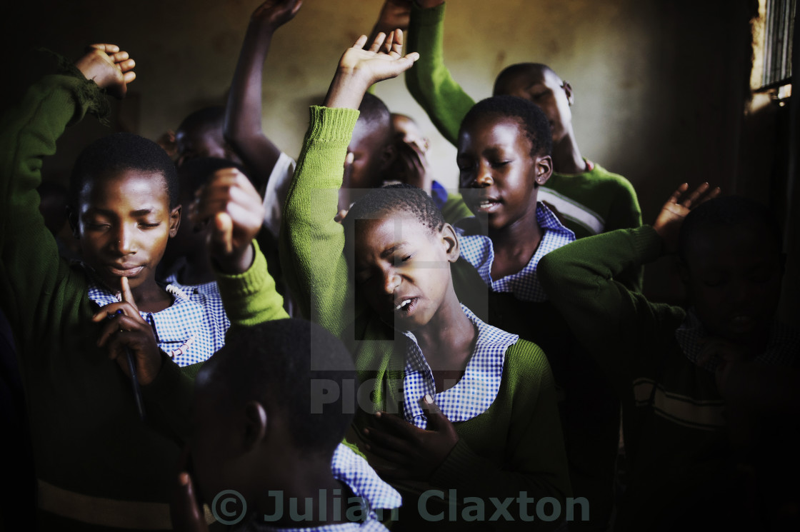 """Morning Prayer, Rural Uganda"" stock image"