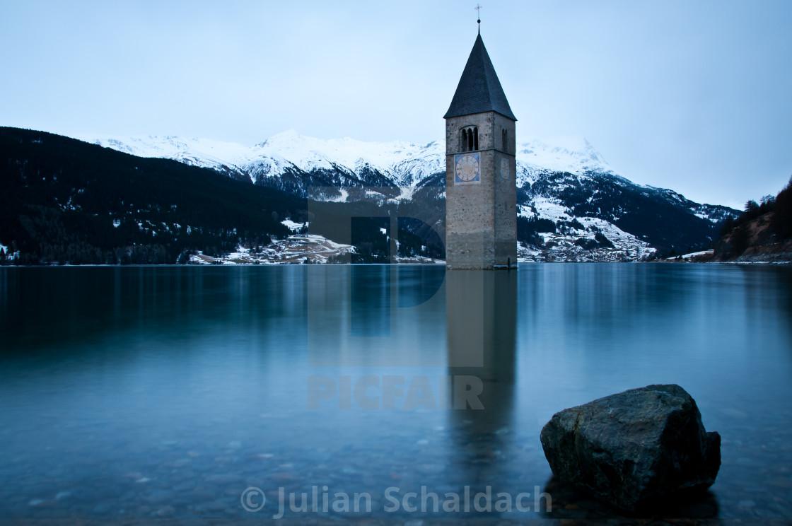 """Old Tower Lake Resia"" stock image"